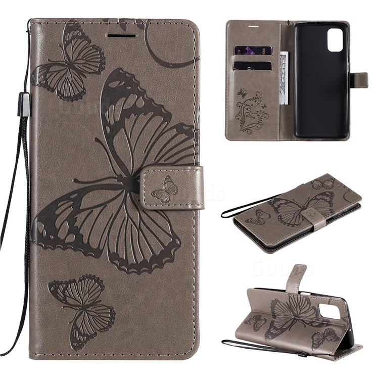 Embossing 3D Butterfly Leather Wallet Case for Samsung Galaxy M51 - Gray