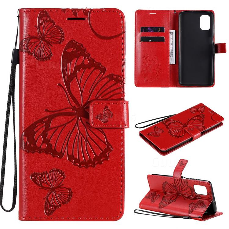 Embossing 3D Butterfly Leather Wallet Case for Samsung Galaxy M51 - Red
