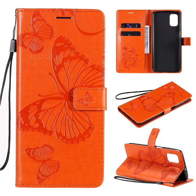 Embossing 3D Butterfly Leather Wallet Case for Samsung Galaxy M51 - Orange