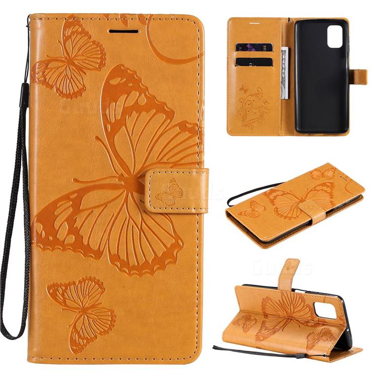 Embossing 3D Butterfly Leather Wallet Case for Samsung Galaxy M51 - Yellow