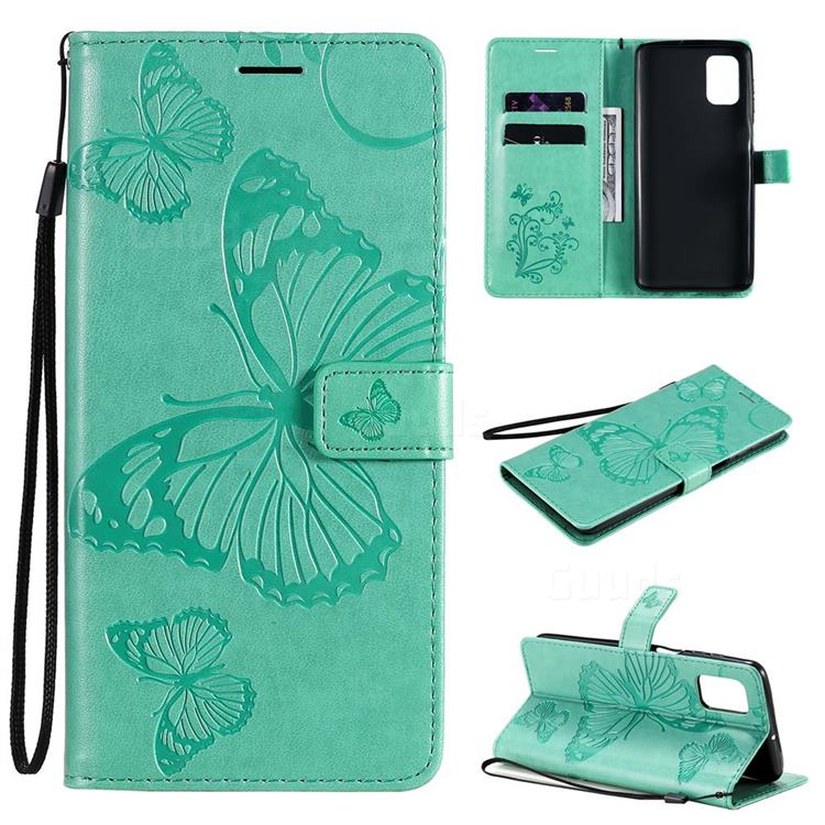 Embossing 3D Butterfly Leather Wallet Case for Samsung Galaxy M51 - Green