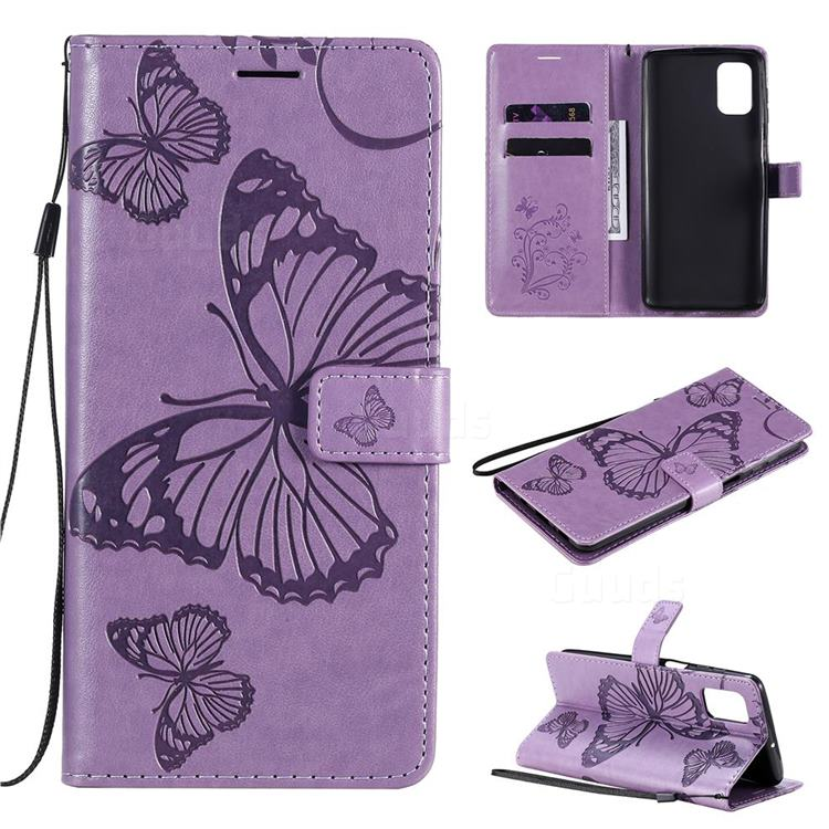 Embossing 3D Butterfly Leather Wallet Case for Samsung Galaxy M51 - Purple