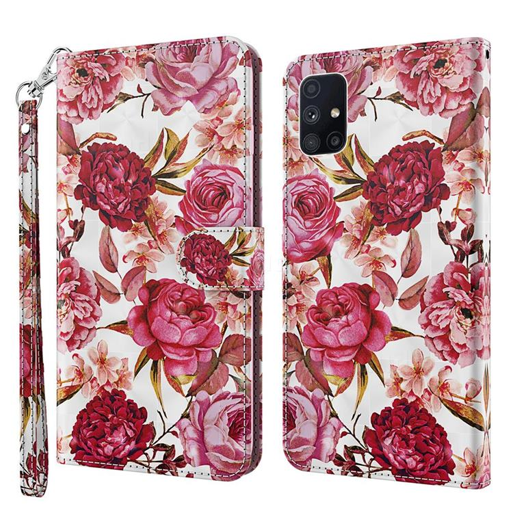 Red Flower 3D Painted Leather Wallet Case for Samsung Galaxy M51