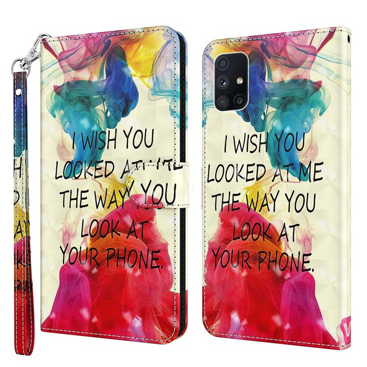 Look at Phone 3D Painted Leather Wallet Case for Samsung Galaxy M51