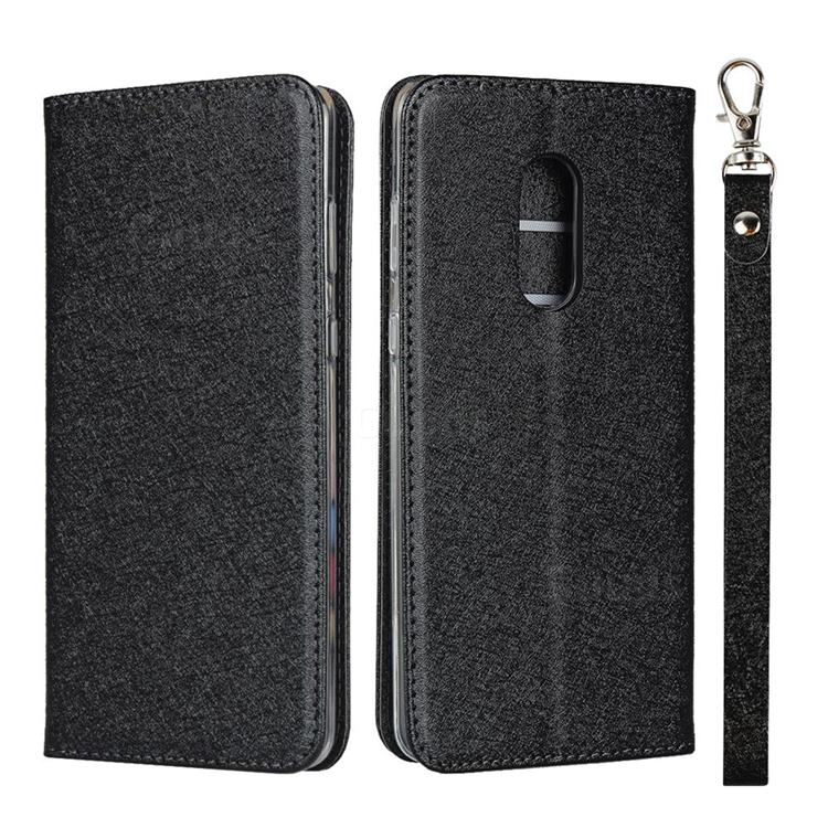 Ultra Slim Magnetic Automatic Suction Silk Lanyard Leather Flip Cover for Sharp AQUOS Zero2 SH-01M - Black