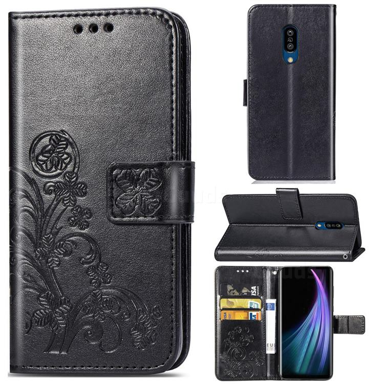 Embossing Imprint Four-Leaf Clover Leather Wallet Case for Sharp AQUOS Zero2 SH-01M - Black