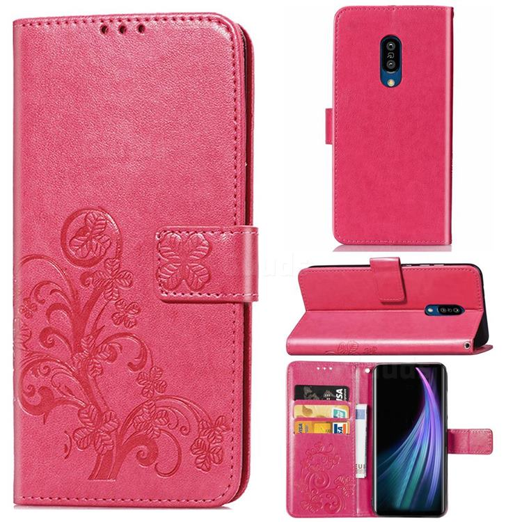 Embossing Imprint Four-Leaf Clover Leather Wallet Case for Sharp AQUOS Zero2 SH-01M - Rose Red