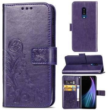 Embossing Imprint Four-Leaf Clover Leather Wallet Case for Sharp AQUOS Zero2 SH-01M - Purple