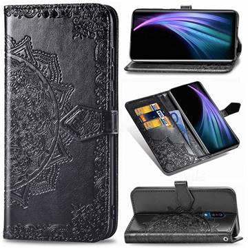 Embossing Imprint Mandala Flower Leather Wallet Case for Sharp AQUOS Zero2 SH-01M - Black