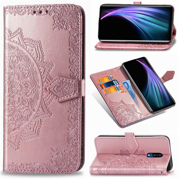 Embossing Imprint Mandala Flower Leather Wallet Case for Sharp AQUOS Zero2 SH-01M - Rose Gold