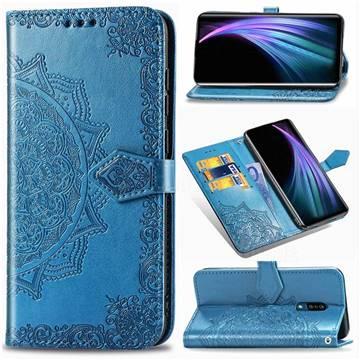 Embossing Imprint Mandala Flower Leather Wallet Case for Sharp AQUOS Zero2 SH-01M - Blue