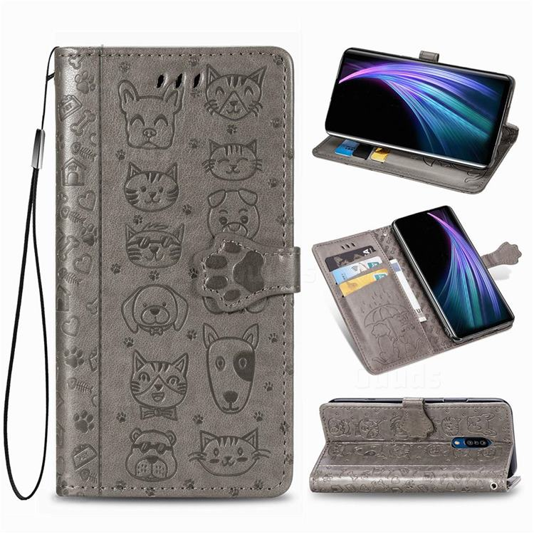 Embossing Dog Paw Kitten and Puppy Leather Wallet Case for Sharp AQUOS Zero2 SH-01M - Gray