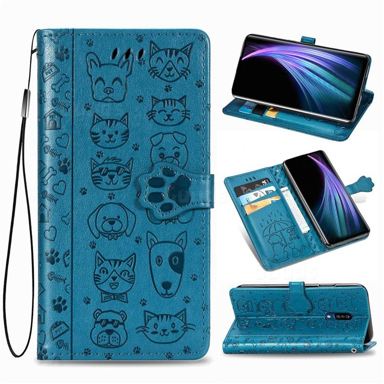 Embossing Dog Paw Kitten and Puppy Leather Wallet Case for Sharp AQUOS Zero2 SH-01M - Blue