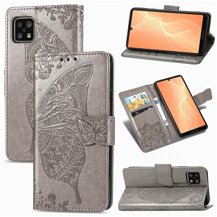 Embossing Mandala Flower Butterfly Leather Wallet Case for Sharp AQUOS sense4 SH-41A - Gray