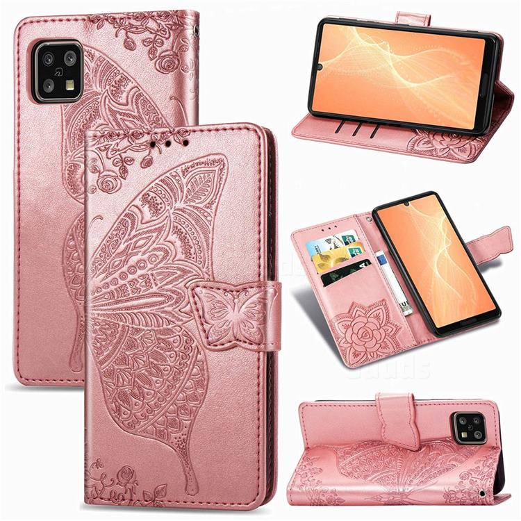 Embossing Mandala Flower Butterfly Leather Wallet Case for Sharp AQUOS sense4 SH-41A - Rose Gold