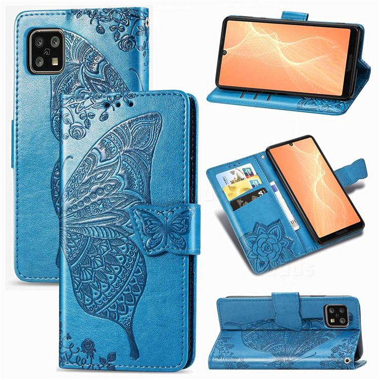 Embossing Mandala Flower Butterfly Leather Wallet Case for Sharp AQUOS sense4 SH-41A - Blue