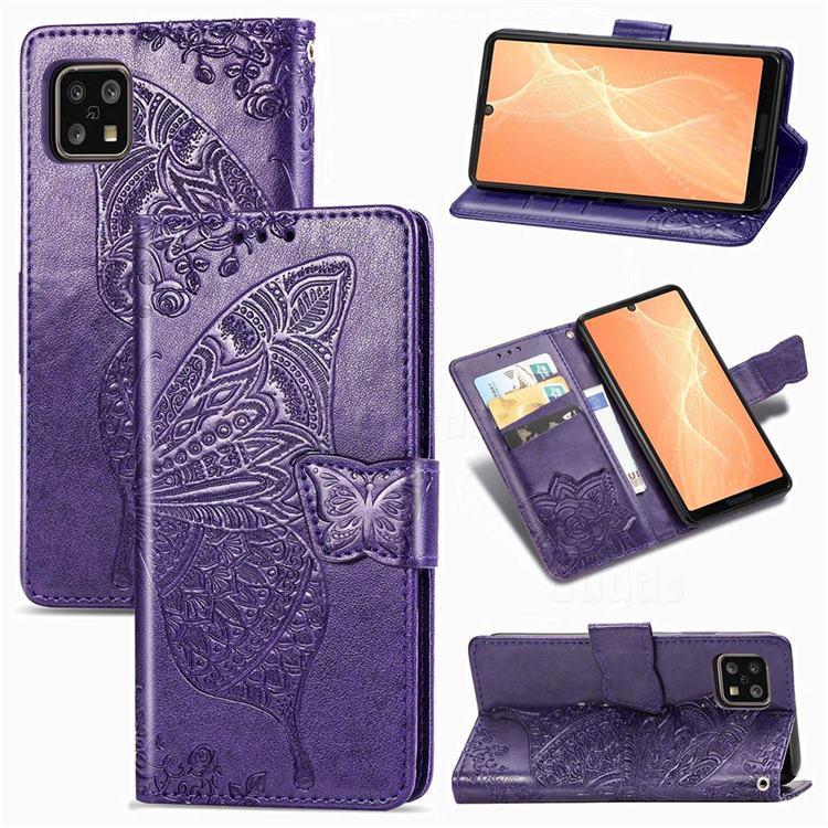 Embossing Mandala Flower Butterfly Leather Wallet Case for Sharp AQUOS sense4 SH-41A - Dark Purple