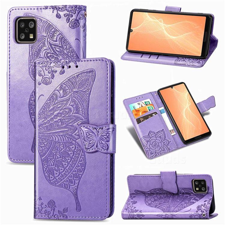 Embossing Mandala Flower Butterfly Leather Wallet Case for Sharp AQUOS sense4 SH-41A - Light Purple