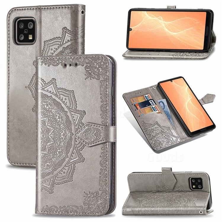 Embossing Imprint Mandala Flower Leather Wallet Case for Sharp AQUOS sense4 SH-41A - Gray