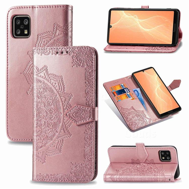 Embossing Imprint Mandala Flower Leather Wallet Case for Sharp AQUOS sense4 SH-41A - Rose Gold
