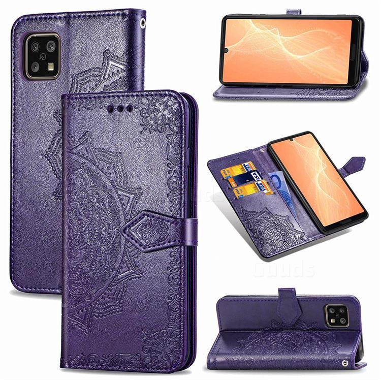 Embossing Imprint Mandala Flower Leather Wallet Case for Sharp AQUOS sense4 SH-41A - Purple