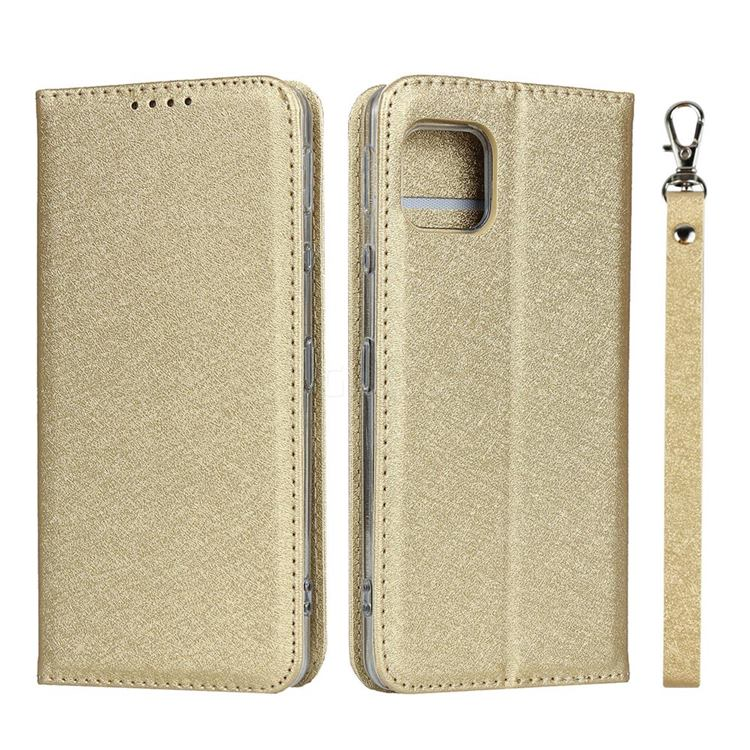 Ultra Slim Magnetic Automatic Suction Silk Lanyard Leather Flip Cover for Sharp AQUOS sense4 SH-41A - Golden