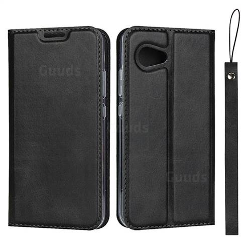Calf Pattern Magnetic Automatic Suction Leather Wallet Case for Sharp Aquos R2 Compact - Black