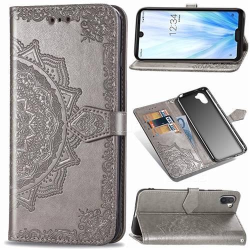 Embossing Imprint Mandala Flower Leather Wallet Case for Sharp AQUOS R3 SHV44 - Gray