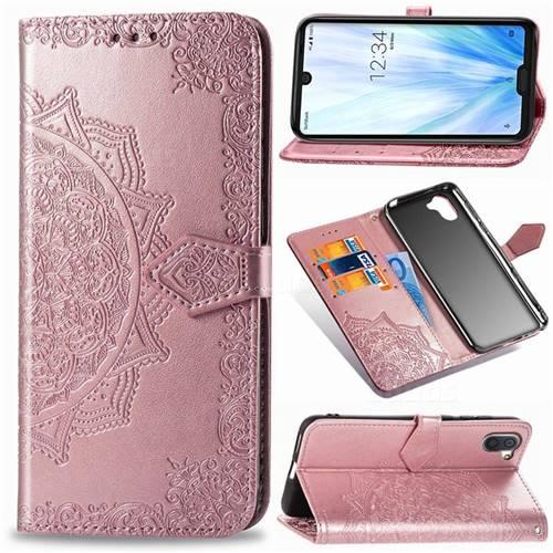 Embossing Imprint Mandala Flower Leather Wallet Case for Sharp AQUOS R3 SHV44 - Rose Gold