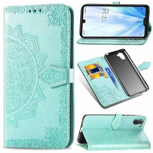 Embossing Imprint Mandala Flower Leather Wallet Case for Sharp AQUOS R3 SHV44 - Green