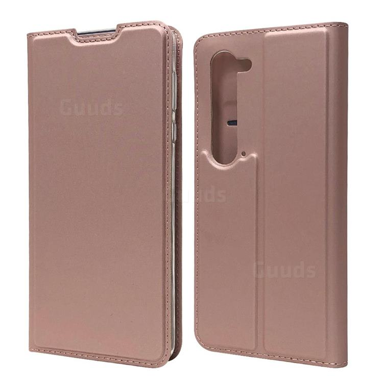 Ultra Slim Card Magnetic Automatic Suction Leather Wallet Case for Sharp AQUOS R5G - Rose Gold