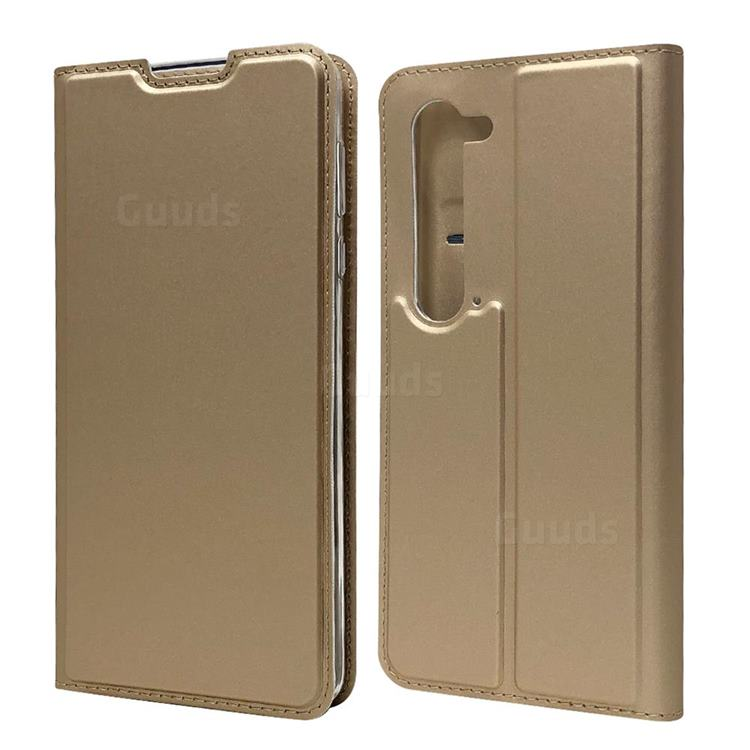 Ultra Slim Card Magnetic Automatic Suction Leather Wallet Case for Sharp AQUOS R5G - Champagne