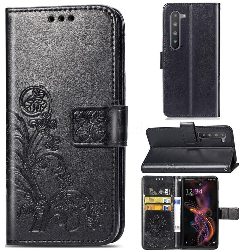 Embossing Imprint Four-Leaf Clover Leather Wallet Case for Sharp AQUOS R5G - Black