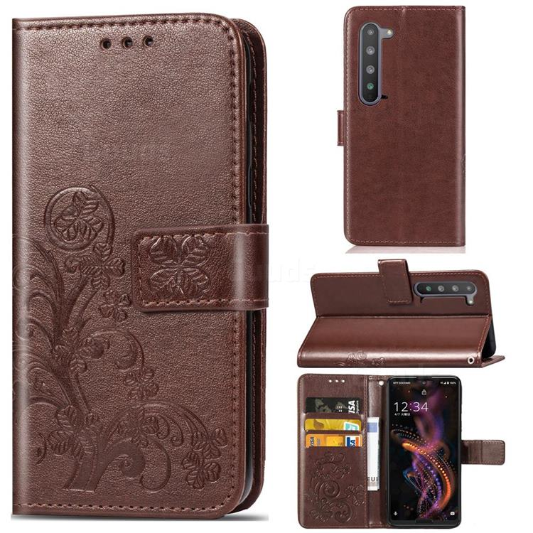 Embossing Imprint Four-Leaf Clover Leather Wallet Case for Sharp AQUOS R5G - Brown