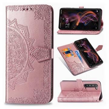 Embossing Imprint Mandala Flower Leather Wallet Case for Sharp AQUOS R5G - Rose Gold