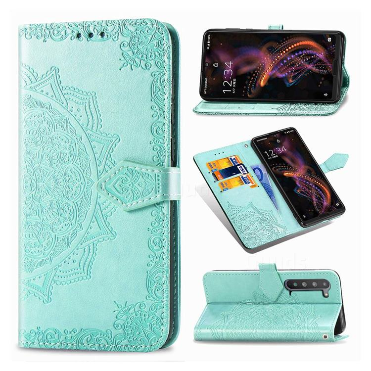 Embossing Imprint Mandala Flower Leather Wallet Case for Sharp AQUOS R5G - Green
