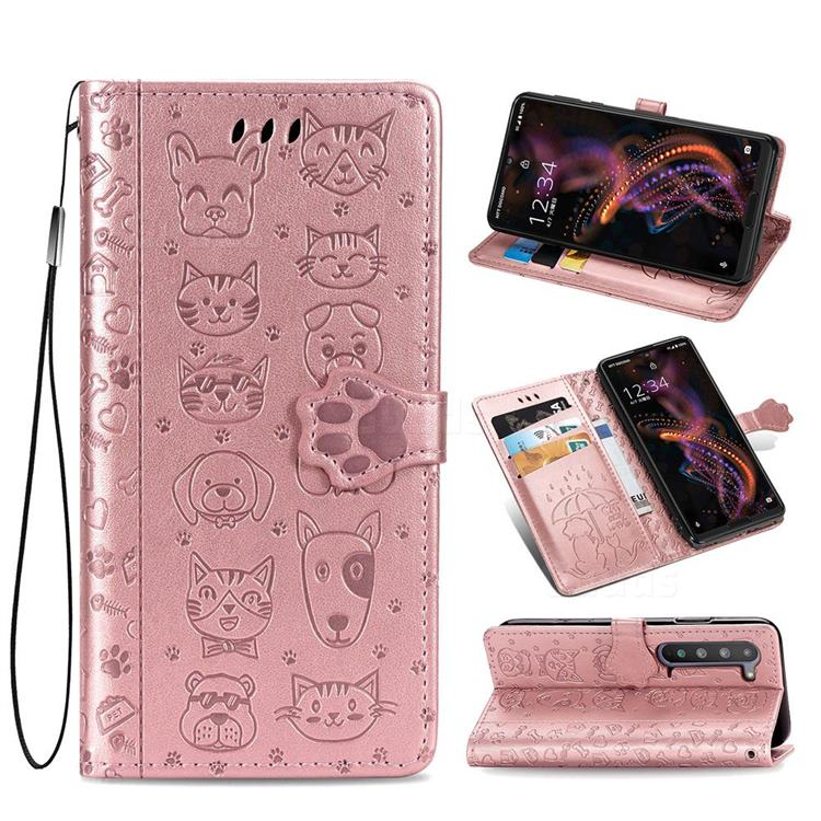Embossing Dog Paw Kitten and Puppy Leather Wallet Case for Sharp AQUOS R5G - Rose Gold