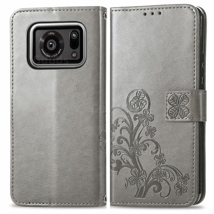 Embossing Imprint Four-Leaf Clover Leather Wallet Case for Sharp AQUOS R6 SH-51B - Grey