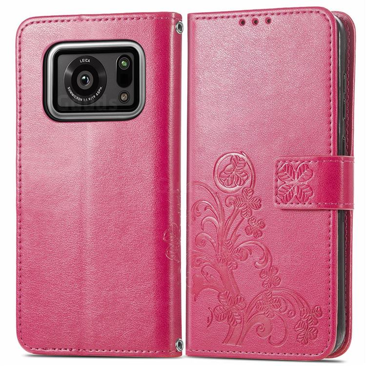 Embossing Imprint Four-Leaf Clover Leather Wallet Case for Sharp AQUOS R6 SH-51B - Rose Red