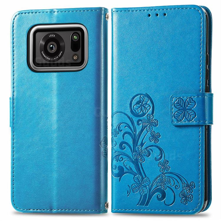 Embossing Imprint Four-Leaf Clover Leather Wallet Case for Sharp AQUOS R6 SH-51B - Blue