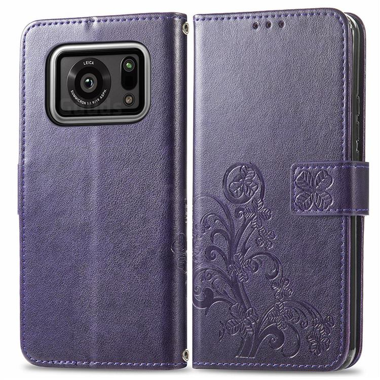 Embossing Imprint Four-Leaf Clover Leather Wallet Case for Sharp AQUOS R6 SH-51B - Purple