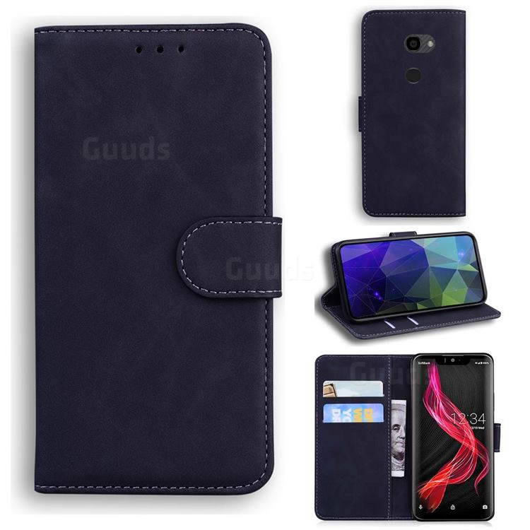 Retro Classic Skin Feel Leather Wallet Phone Case for Sharp Aquos Zero - Black