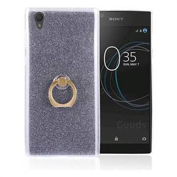 Luxury Soft TPU Glitter Back Ring Cover with 360 Rotate Finger Holder Buckle for Sony Xperia L1 / Sony E6 - Black