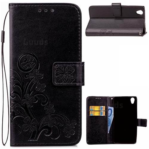 Embossing Imprint Four-Leaf Clover Leather Wallet Case for Sony Xperia L1 - Black