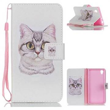 Lovely Cat Leather Wallet Phone Case for Sony Xperia L1 / Sony E6