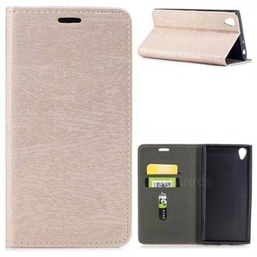Tree Bark Pattern Automatic suction Leather Wallet Case for Sony Xperia L1 / Sony E6 - Champagne Gold