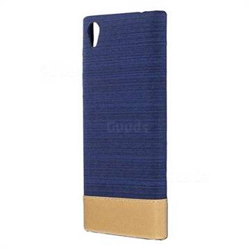 Canvas Cloth Coated Plastic Back Cover for Sony Xperia L1 / Sony E6 - Dark Blue