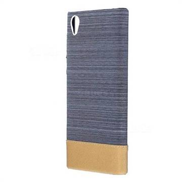 Canvas Cloth Coated Plastic Back Cover for Sony Xperia L1 / Sony E6 - Dark Grey