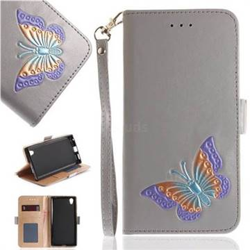 Imprint Embossing Butterfly Leather Wallet Case for Sony Xperia L1 / Sony E6 - Grey