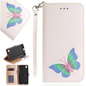 Imprint Embossing Butterfly Leather Wallet Case for Sony Xperia L1 / Sony E6 - White
